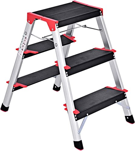 wholesale Giantex Aluminum lowest Step Ladder, Lightweight Folding Non-Slip 3 Step Stool 330lbs Capacity Wide Pedal new arrival for Household Work Use online sale
