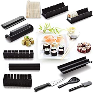 12 Pieces DIY Sushi Making Kit with 4 Sushi Shape Molds and 1 Bamboo Sushi Mat-Roller