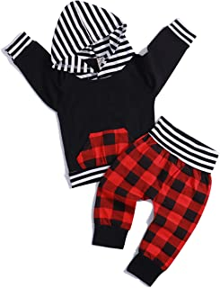 Baby Boys Girls Clothes Sweatshirt Bear Printed Long Sleeve Hoodie Tops +Plaid Striped Pants Outfits Set
