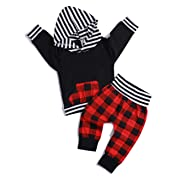 2pcs Outfit Newborn Baby Boy Girl Long Sleeve Black/red Hoodie with Check Pocket Tops Plaid Long Pants Clothes 0 - 6 Months