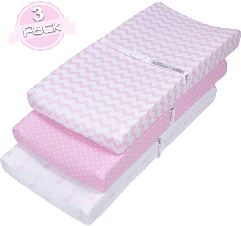 BaeBae Goods Changing Pad Cover Set For Girls Cradle Bassinet Sheets Change Table Covers For Boys Girls Super Soft 100 Jersey Knit Cotton Pink And White 150 GSM 3 Pack