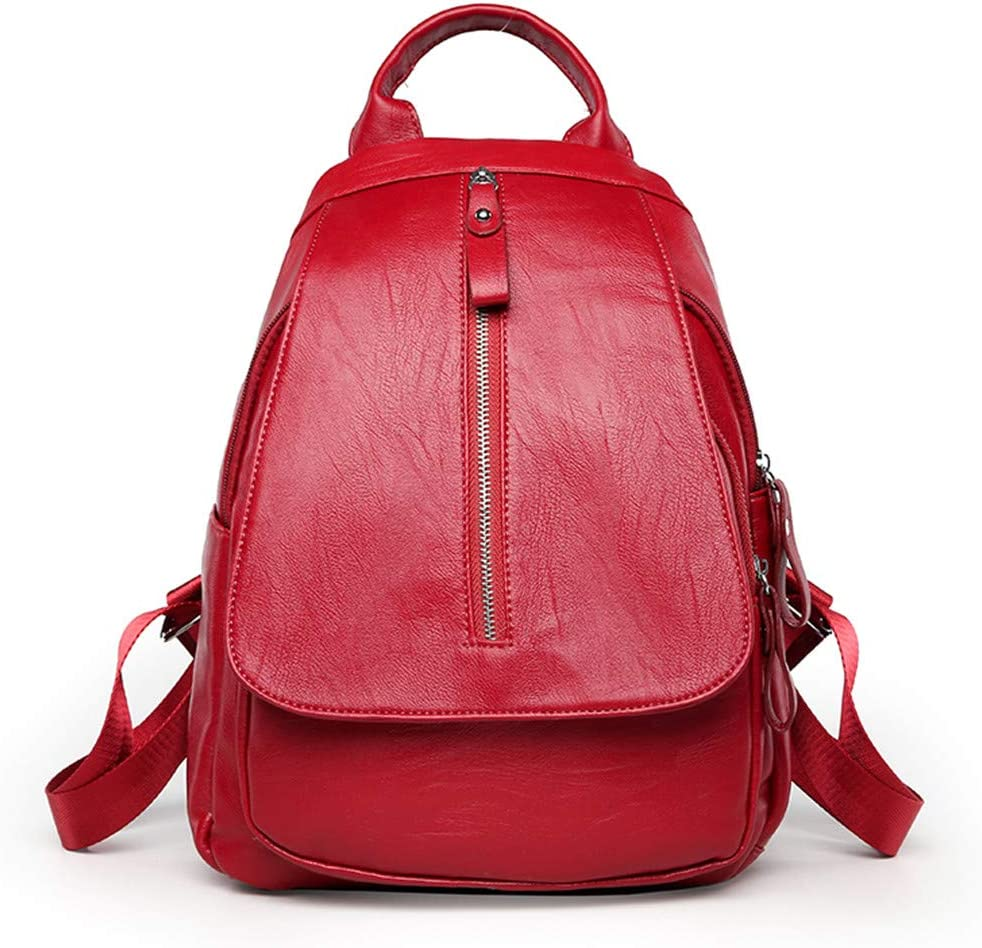 Women Leather Backpack Travel Shcool Bags For Teenagers Female Shoulder Bags Back Pack red L33cm W24cm Thk13cm
