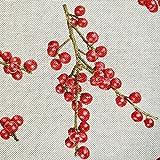Stoff Meterware Baumwolle natur Beeren rot Vogelbeeren