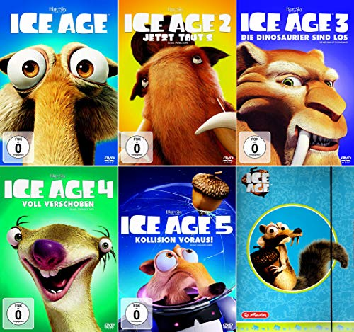 Ice Age 1 - 5 Collection (5er DVD-Set) + eine Sammelmappe (Motiv Scrat) [Kein Box-Set]