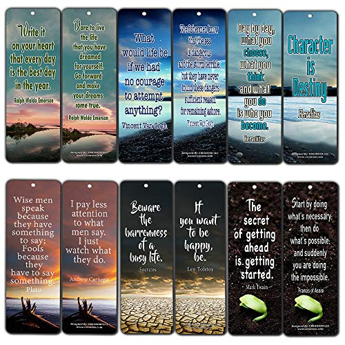 Creanoso Inspirational Bookmarks (12-Pack) - Inspiring Quotes About Life Bookmarker Cards - Awesome Positive Wisdom Encouragement Gifts for Men Women Adults Teens Kids Entrepreneur