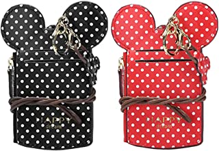 Cute Neck Pouch, Small Fashion Student ID Card Case Holder Wave Dot Coin Wallet Purse for Women/Girls/Children Travel