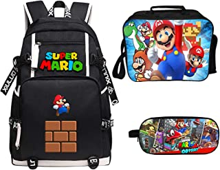 Super Mario Backpack Lunch Box Pencil Case Outdoor School Package