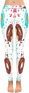 Cute Yummy Desserts Donuts Chocolate Stretchy Capri Leggings Skinny Yoga Pants Regular Plus Sizes 2XS-5XL