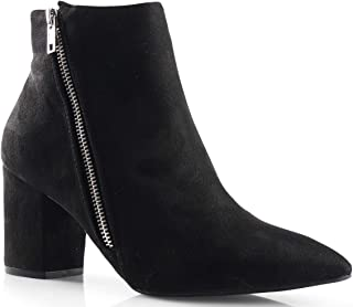 Womens Cinco Zipper Pointy Toe Chunky Heel Ankle Bootie Boots