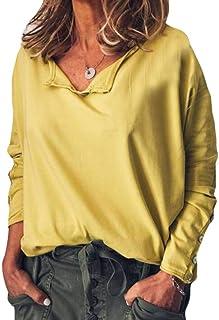 KLJR Women Solid Color Shirts Plus Size Tops Long Sleeve Loose Fit Blouse