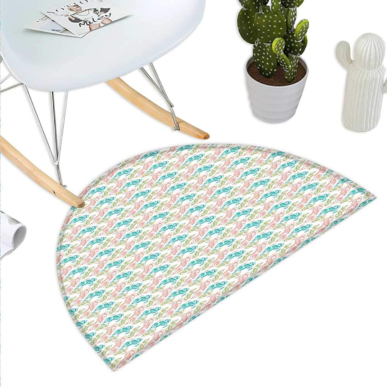 Oriental Semicircle Doormat Ornamental Fish Pattern with Rich Curls Fantasy Medieval Artwork Halfmoon doormats H 35.4  xD 53.1  Peach Green and Turquoise
