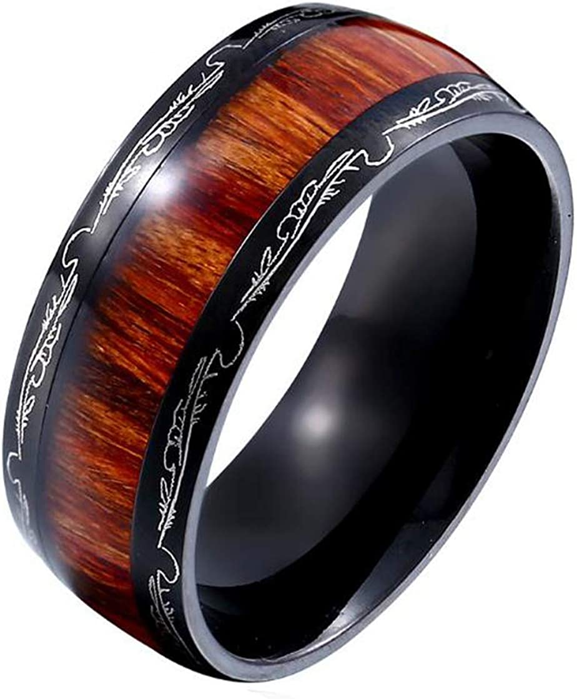 HIJONES Unisex Stainless Steel Rings 5% OFF Engag Wood Quality inspection Wedding Real Koa
