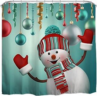 QiyI Christmas Snowman Shower Curtain Waterproof Repellent AntibacterialRust Proof GrommetsEco