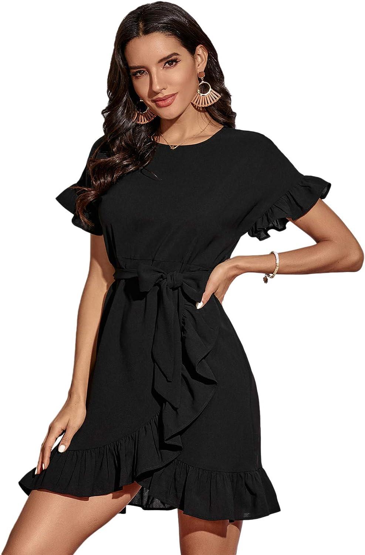 SweatyRocks Women's Short Sleeve Wrap Ruffle Hem Belted A Line Mini Short Dress