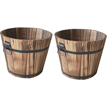 LOVIVER Set of 2 Rustic Wood Bucket Barrel Whiskey Flower Garden Planters Pot Wood Barrel Planters,Rustic Patio Planters Flower Pots Container Box with Drainage Holes for Indoor/Outdoor Garden Decor