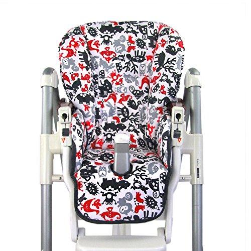 BambiniWelt Cojín de asiento, funda de repuesto para trona Peg Perego Prima Pappa Diner, 24colores Tiere Rot/Schwarz