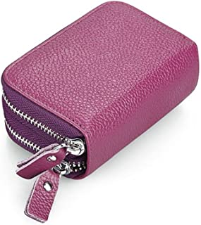 Ladies Wallet RFID Protection Unisex Leather Bovine Leather Wallet (Color : Purple, Size : One Size)