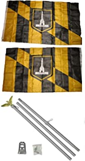 ALBATROS 3 ft x 5 ft City of Baltimore 2ply Flag Aluminum with Pole Kit Set for Home and Parades, Official Party, All Weather Indoors Outdoors