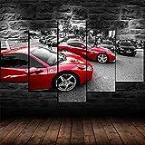 WWNMJ Cuadros Decoracion Salon Modernos 5 Piezas de Lienzo,5 lienzos Decorativos Salon Grandes XXL Ferrari Red Super Sport Cars Cuadros Decoracion Salon Modernos con Marco 150X80 Cm