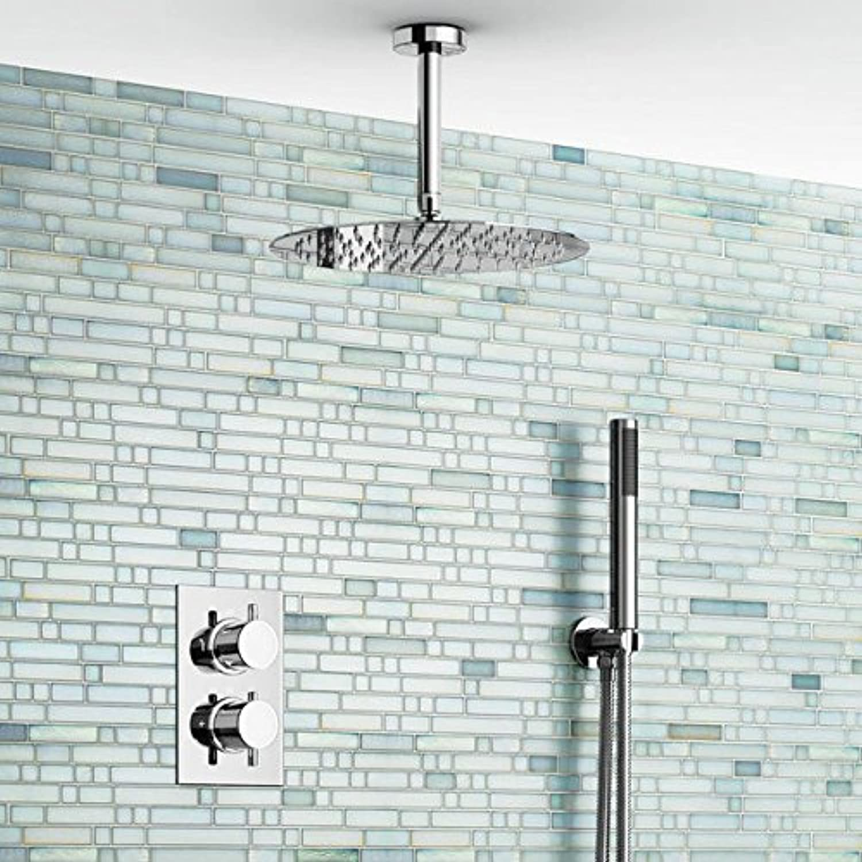 Galvanik Retro Wasserhahn thermostatische Soild Messing Badezimmer Dusche Wasserhahn regen Duschkopf, Wei