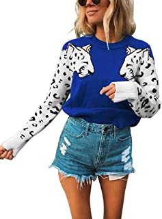 KOOBETON Womens Stylish Leopard Short Sweaters Knitted Long Sleeve Pullover Tops