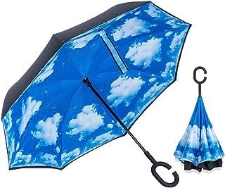 逆さ傘 ワンタッチ 逆さ 傘 車用 傘 逆転傘 逆さま傘 逆折り式傘 逆さに開く傘 逆さがさ 傘 (ブルー)