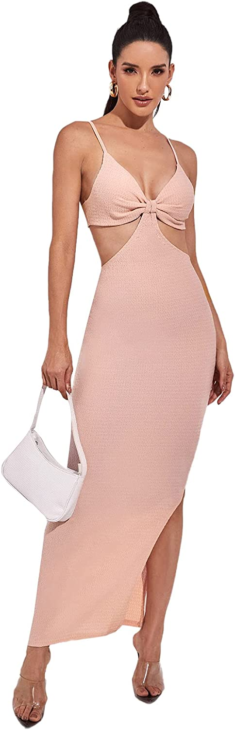 SOLY HUX Women Cut Out Backless Spaghetti Straps Knitted Maxi Dresses Elegant Sexy Party Bodycon Slim Dress