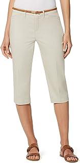 Gloria Vanderbilt Ladies' Anita Belted Capri Casual Summer Pants (Natural Sand, 16)