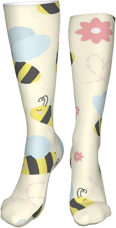 Cute Bees Women Premium High Socks, Stocking High Leg Warmer Sockings Crew Sock For Daily And Work