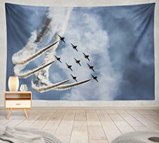 threetothree 80 X 60 Inches Tapestry Wall Hanging Interior Decorative Show Jet Plane Army Navy Airplane Military Sky Air Team Trail Show Training for Bedroom Living Room Tablecloth Dorm
