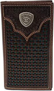Men's Ariat Shield Rodeo Wallet w/Turquoise Basketweave Inlay