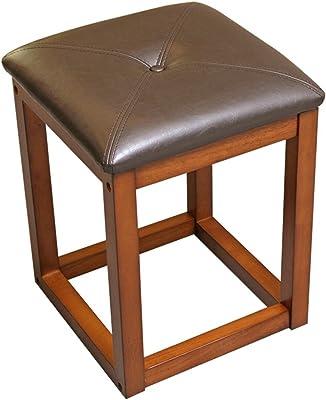 Set of Two Benzara BM185360 Wooden Backless Bar Stool Brown