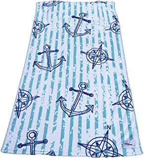 Tillow Oversized Beach Towel with Pillow, Water-resistant Pocket and Touch Screen Phone Pocket, Anchor Design