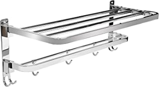 Now & Zen Stainless Steel 304 Grade Dual Folding Towel Rack for Bathroom, Foldable Bathroom Shelf with Towel Bar Rod with ...