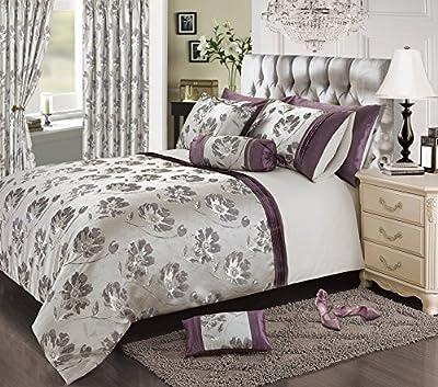 "Silver/Purple Jacquard Floral Curtains Pair 66""x72"""