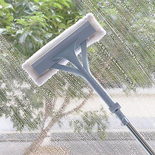 GAOJIAN Outils de nettoyage en verre à double fenêtre latérale Tôle télescopique Tissu de nettoyage de vitre Essuie-glace essoreuse à vitre