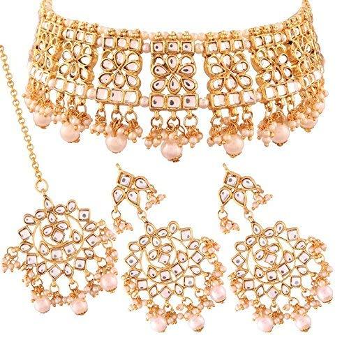 Aheli Indian Traditional Maang Tikka Choker Kundan Necklace Earrings Set Ethnic Wedding Party Designer Jewellery for Women