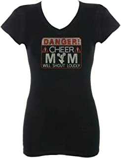 Women's Danger Cheer Mom Will Shout Loudly Rhinestone Bling V-Neck T-Shirt