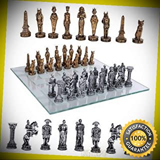 KARPP Kingdoms at War Egyptian VS Roman Army Resin Chess Pieces with Glass Board Set Perfect Indoor Collectible Figurines