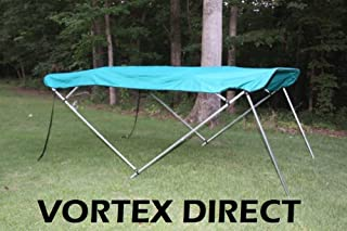 Vortex Teal 4 Bow Bimini Top 8' Long, 85-90 Wide, 54 High, Pontoon/Deck Boat Complete Kit, Frame, Canopy, and Hardware 1 to 4 Business Day DELIVERY
