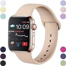 Hamily Correa Compatible con Apple Watch 42mm 44mm, Correa de Repuesto de Silicona Suave para Apple Watch Series 5/4/3/2/1, S/M, Nuez