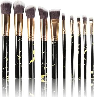 STELLAIRE CHERN Black Make Up Brushes Professional 10 Pieces Marble Pattern Makeup Brushes Set Foundation Blush Powder Eyeshadow Blending Brushes Cosmetic Brush Kit
