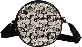 Coosun Umhängetasche mit Blumen-Gänseblümchen-Muster, runde Umhängetasche, Schultertasche, Handtasche für Kinder und Damen