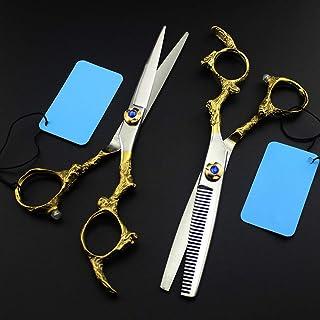 6.0 Inch Retro Gold Hair Scissors Hair Scissors Flat Scissors Tooth Scissors Thinning Scissors,6InchSet