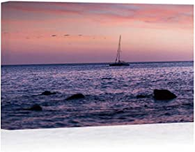Silhouette Catamaran Sailing of Shore Arts Canvas Print for Living Room Decoration,086395 Painting Wall Art Picture Print on Canvas,24