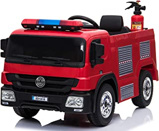 Fire Truck Electric Ride On Car with Remote Control, 12V Battery Powered Vehicles Motorized Truck, 2 MPH Max Speed, 2 Openable Door, Mp3 Player, Water Gun, Extinguisher, Helmet, LED Light