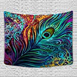 Sunm Boutique Colorful Peacock Feather Tapestry, Abstract Art Wall Tapestry Wall...