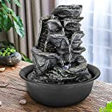 xpiyaer Tiered Rock Tabletop Fountain w/LED Lights - 11 4/5' High Cascading Water Fountains Indoor Small Relaxation Waterfall Feature for Home, Office and Bedroom End Table Decoration (11.81, Gray)