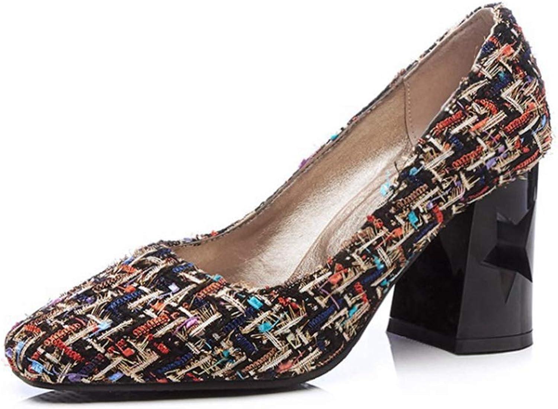 CYBLING Women's Plaid Slip-On Closed Square Toe Chunky Block Heel Dress Pumps Plus