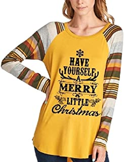 neveraway Women Long Sleeve Tops Letters Graphic Raglan Christmas Sweatshirts